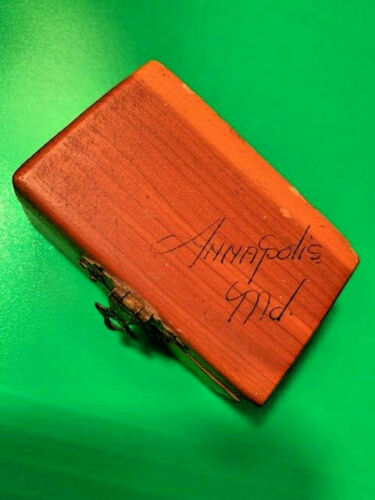 """VINTAGE Souvenir """"Annapolis MD"""" Wooden Ring Box, Hinged Top"""