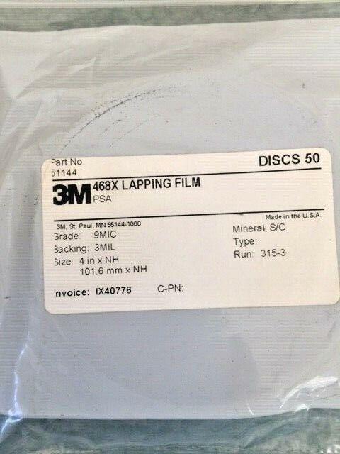 3M lapping film 468X PSA  50 discs  9 mic 3 mil