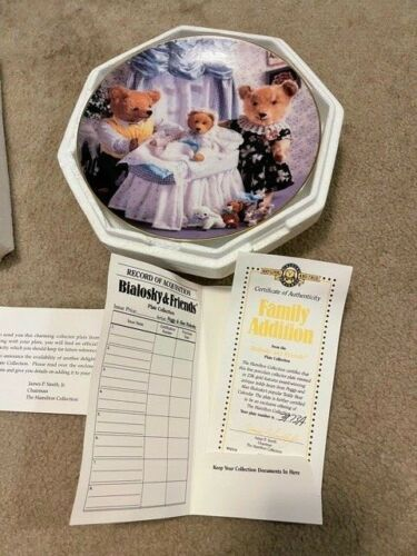 FAMILY ADDITION 1992 Bialosky & Friends Teddy Bear Plate  w/Coa