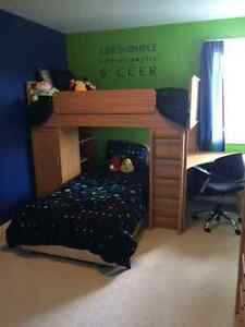 Kids bunk beds with built in desk