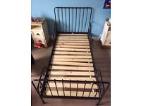 Ikea Minnen Child's Extendable metal bed in Black WITH mattress