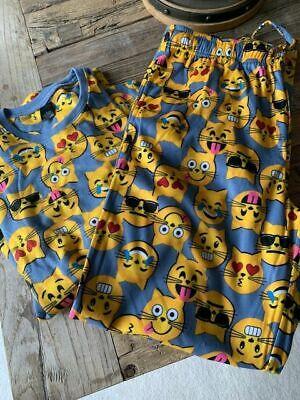 Adult Unisex Cat Emoji Flannel Pajama Set Sz M, -