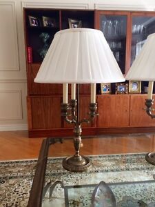 brass finish end table/night table lamps
