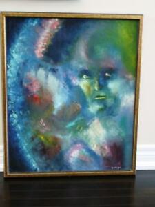Abstract ORIGINAL OIL PAINTING Ghost in the Mist SIGNED Weigel