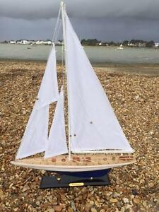 New Wooden Model J CLASS ENTERPRISE YACHT SAILING SAIL BOAT Ornament Home Gift