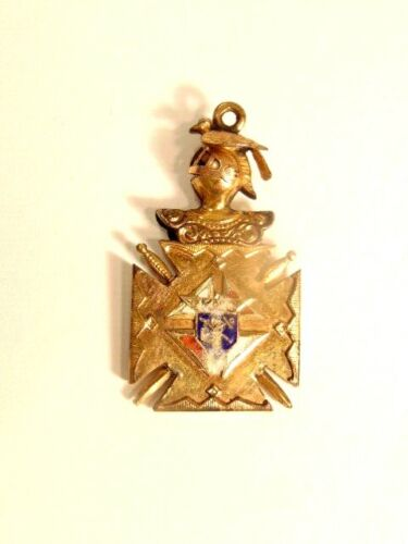 Vintage gold filled Knights of Columbus helmeted watch fob