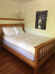 Double bed frame,with good quality springs and  futon mattress