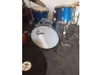 Gretsch drum kit broadkaster blue glass glitter drums vintage style
