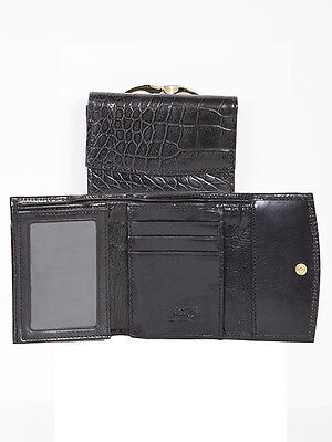 Black Leather French Purse - Scully 715 Black Alligator Grain Leather French Purse Wallet