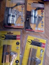 Yale MAXIMUM security Cylinders X4 Brand new JOBLOT Satin brass & Silver finish