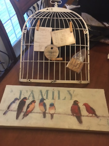 Signed Avery Tillmon & new cast iron bird cage note holder