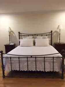 Wrought Iron King Bed and Night Tables