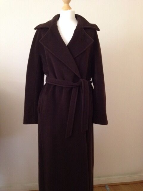 MAX MARA Chocolate Brown wool and cashmere long coat   in Notting ...