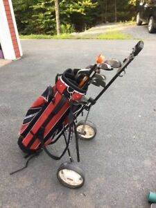 Mens RH Golf Clubs, bag and cart