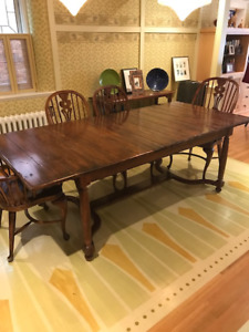 Ethan Allan Dining Table Hutch And Windsor Chairs