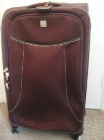 """TRIPP"" LARGE FULL CIRCLE 4 WHEEL BROWN SUITCASE. PLENTY OF COMPARTMENTS. ABOUT £80 NEW. PRE-LOVED"