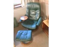 """Green leather """"Stressless"""" reclining slumber chair and stool,"""