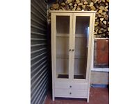 LIMED OAK DISPLAY CABINET AS NEW