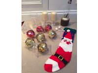 Christmas decorations: Baubles, Stocking, Glass Candlesticks/Angel Bells and Reindeer Decoration.