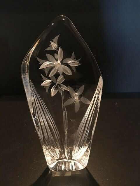 "6"" Sweden Mats Jonasson Clear Cut Crystal Glass Paperweight Flowers Floral #8680"