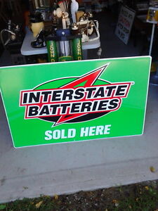"""INTERSTATE BATTERIES SOLD HERE"" tin Sign London Ontario image 1"
