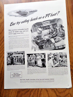 1942 Cup Container Institute Ad  Ever try Eating Lunch on PT Boat