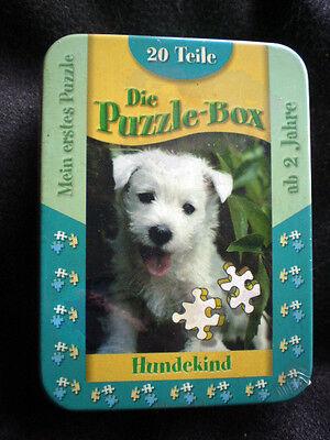Die Puzzle - Box  20 Teile Motiv - HUNDEKIND  - 2  Jahre Puzzle Blechdose/ NEU