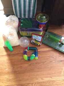 hamster cage and assessories