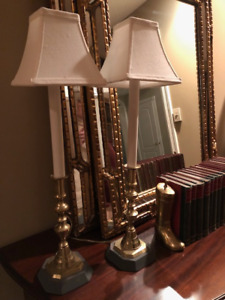 Brass Candlestick Lamps with Linen shades