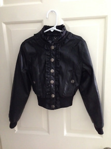 girls trendy black faux leather jacket $20.00 size small (6)