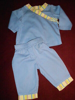 RED ENVELOPE BABY COTTON 2 PIECE OUTFIT SET  BLUE PANTS TOP 6 9 MONTHS - 2 Piece Envelope