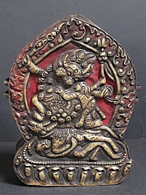"Antique Box "" Ghau "" Copper Of Bhutan, Yamantaka Bhutan"