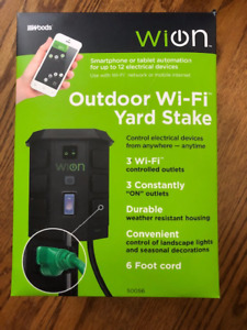 WiOn Outdoor Wi-Fi Yard Stake with 6-Outlet with Wireless Switch