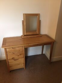 Oak Dressing Table and Mirror