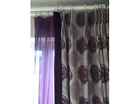 Quality Curtains with matching Voile - Purple Motif on Oyster Background