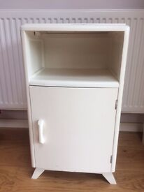 White Vintage bedside table with Curved Front.