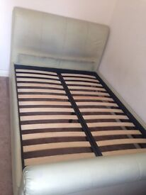 Cream Leather, Double Bed Frame