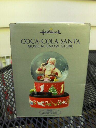 2001 Hallmark Coca-Cola Santa Musical Snow Globe  Moving Train Christmas New NIB