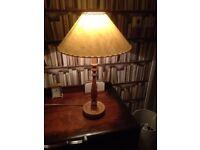 Hand Turned Bespoke Light English Oak Table Lamp + Parchment Shade
