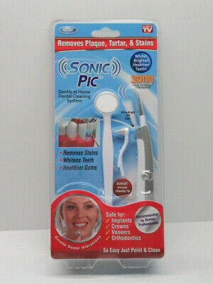 Sonic Pic As Seen On TV Removes Plaque Tartar Stains Whitens Teeth Healthier Plaque Removal Teeth