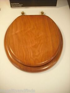 New 15 Inch Natural Wood Oak Round Toilet Seat With Shiny Brass Fixtures EBay