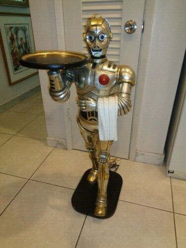"""RARE C-3PO Butler  Robot With Tray From Star Wars Statue (37 by 16 by 15"""")"""
