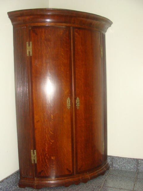 Georgian Inlaid Oak 18th Century Corner Cabinet