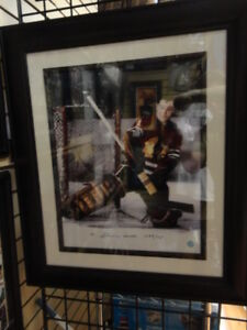 Big 16x20 Custom Framed Autographed Glen Hall Blackhawks Legend