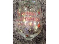 Painted 'friendship' wine glass by Haight-Ashbury Collection - new and boxed