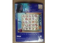 Janlynn Floral Alphabet counted cross stitch kit #023-0511 Platinum Collection