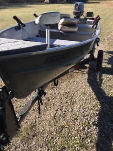 14' Aluminum Boat with 20Hp Evinrude