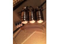3 x electric remote control ceiling fans with integral lights - stainless steel