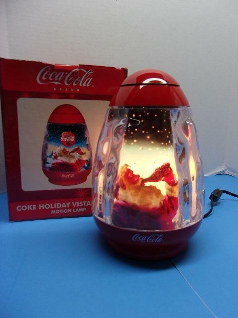 Vintage Coca-Cola Revolving Motion Santa & Reindeer Christmas Scene Holiday IOB