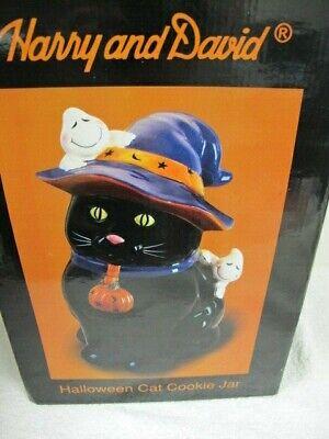 HARRY & DAVID HALLOWEEN CAT COOKIE JAR IN BOX